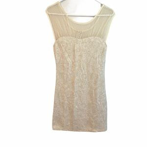 Free People Cream Gold Bodycon Dress Size Small